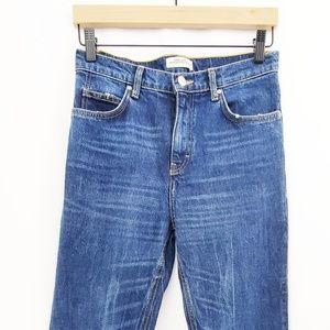 Zara Distressed Straight Leg High Waist Jeans